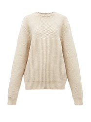 Raey Contrast Panel Chunky Knit Wool Sweater Beige
