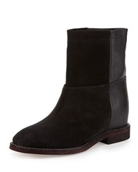 Vince Grayson Suede And Leather Short Boot Black