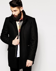 Asos Wool Overcoat With Funnel Neck Black