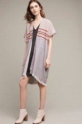 Anthropologie Framed In Fringe Kimono Grey Motif
