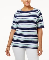 Charter Club Plus Size Cotton Boat Neck T Shirt Only At Macy's Intrepid Blue Combo