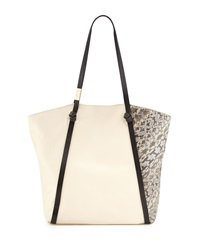 Foley Corinna Ramble Snake Embossed Leather Tote Ecru Combo