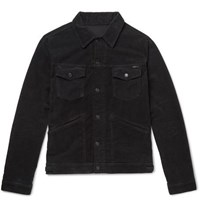 Tom Ford Slim Fit Washed Cotton Blend Corduroy Trucker Jacket Black