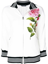 Dolce And Gabbana Rose Patch Cady Zip Sweatshirt White