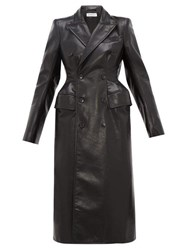 Balenciaga Double Breasted Hourglass Leather Coat Black