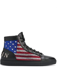 Philipp Plein Hi Top Flag Sneakers Black