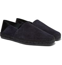 Tom Ford Barnes Collapsible Heel Suede And Leather Espadrilles Midnight Blue
