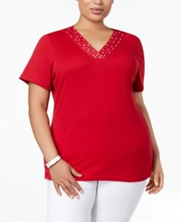 Karen Scott Plus Size Cotton Studded Top Created For Macy's New Red Amore