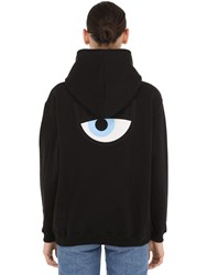 Chiara Ferragni Eye Embroidery Cotton Hoodie Black