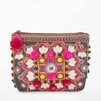 Star Mela Manila Embroidered Purse Black Multi
