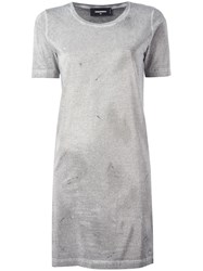 Dsquared2 Microstudded T Shirt Dress Grey