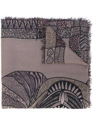 Hemisphere Printed Scarf Women Cashmere One Size Brown