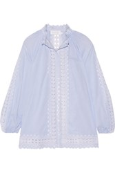 Zimmermann Caravan Crochet Trimmed Striped Cotton Voile Blouse Sky Blue