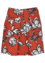 Finders Keepers Flashback Floral Print Cotton Mini Skirt Terracotta