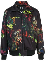 Y 3 Printed Satin Track Jacket Black