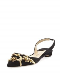 Paul Andrew Rhea Suede D'orsay Slingback Flat W Metallic Flower Embellishments Gold Black Gold Black
