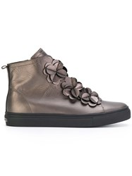 Kennel And Schmenger Hi Top Flower Sneakers Leather Rubber Brown