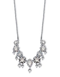 Marchesa Rhodium Opal And 6Mm 8Mm Simulated Faux Pearl Silver Plated Corded Frontal Necklace