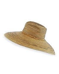 Lola Ehrlich Raffia Wide Brim Sun Hat Navy Neutral