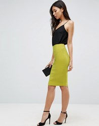 Asos High Waisted Pencil Skirt Chartreuse Yellow