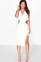 Boohoo Frill Wrap Detail Cut Out Side Midi Dress Ivory