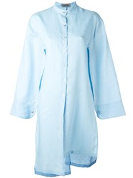Balossa White Shirt Long Wide Sleeve Blue