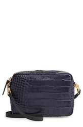 Clare V. Midi Sac Croc Embossed Leather Crossbody Bag Blue Midnight Croco