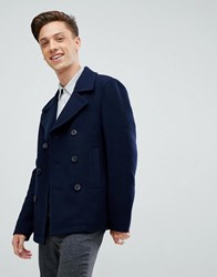 Jack Wills Bickmore Wool Pea Coat In Navy