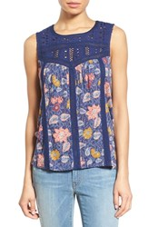 Women's Lucky Brand Eyelet Yoke Floral Print Sleeveless Top