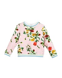 Milly Minis Rose Print Sweatshirt Pink