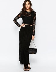 Warehouse Placed Lace Maxi Skirt Black