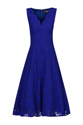 Jolie Moi Scalloped V Neck Cap Sleeve Lace Dress Royal Blue