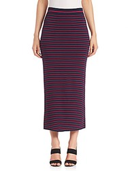 Peserico Striped Rib Knit Midi Skirt Midnight Forest