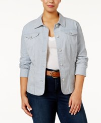 Charter Club Plus Size Pinstripe Denim Jacket Only At Macy's Seaside Wash Combo