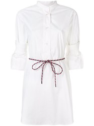 Odeeh Belted Shirt Dress White