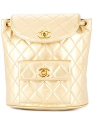 Chanel Vintage Quilted Cc Chain Backpack Metallic