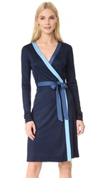 Diane Von Furstenberg Long Taped Wrap Dress Alexander Navy True Blue