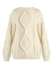 I Love Mr Mittens Angeline Aran Knit Wool Sweater Cream