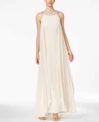 Vince Camuto Embellished Chiffon Trapeze Gown Champagne