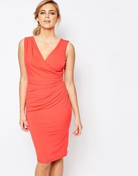 Oasis Ruched V Neck Dress Coral Orange