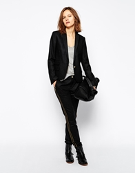 Zadig And Voltaire Trousers In Wool With Military Satin Stripe Anthracitegrey