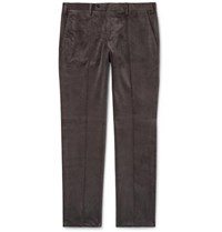 Rubinacci Luca Slim Fit Tapered Cotton Blend Corduroy Trousers Gray