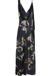 Miu Miu Printed Silk Satin Gown Navy