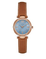 Guess Park Aveneue Crystal Accented Rose Goldtone And Leather Watch Brown