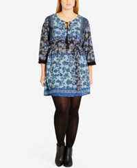 City Chic Trendy Plus Size Peasant Tunic French Navy