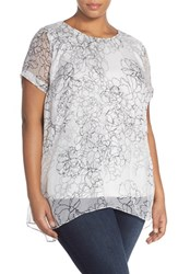 Plus Size Women's Vince Camuto 'Floral Contour' Short Sleeve Chiffon Overlay Blouse New Ivory