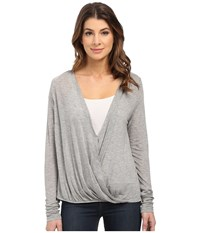 Culture Phit Blythe Long Sleeve Crossed Top Heather Grey Women's Clothing Gray