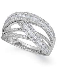 Effy Collection Classique By Effy Diamond Crossover Ring In 14K White Gold 1 Ct. T.W.