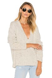 One Teaspoon Lone Pine Deep V Neck Sweater Cream
