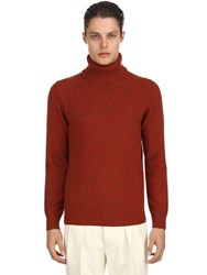 Lardini Virgin Wool Turtleneck Sweater Beige Red